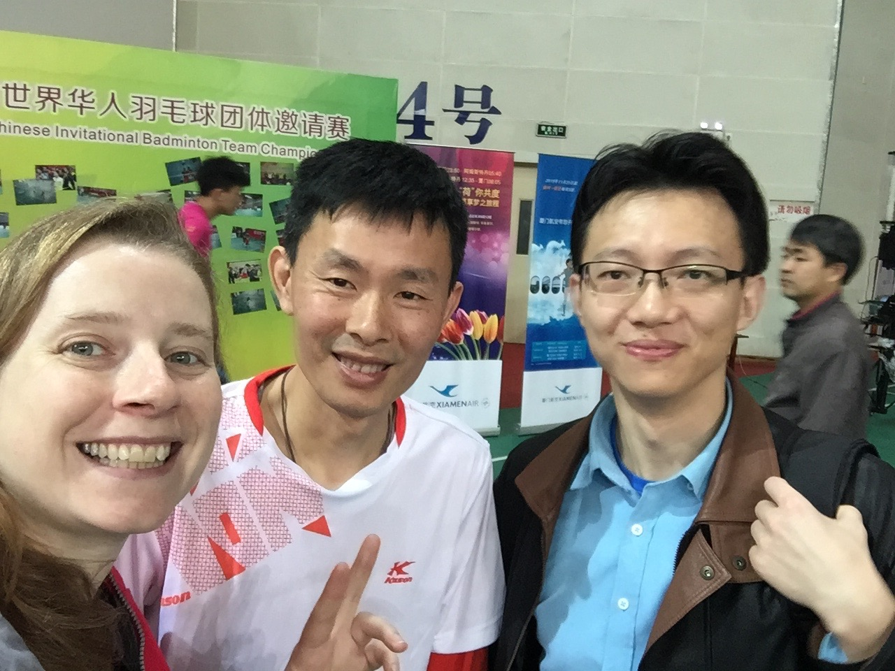 My teacher (in the middle, and Xiao He are my only two links to the Xiamen badminton community. I need their help to get me more involved.