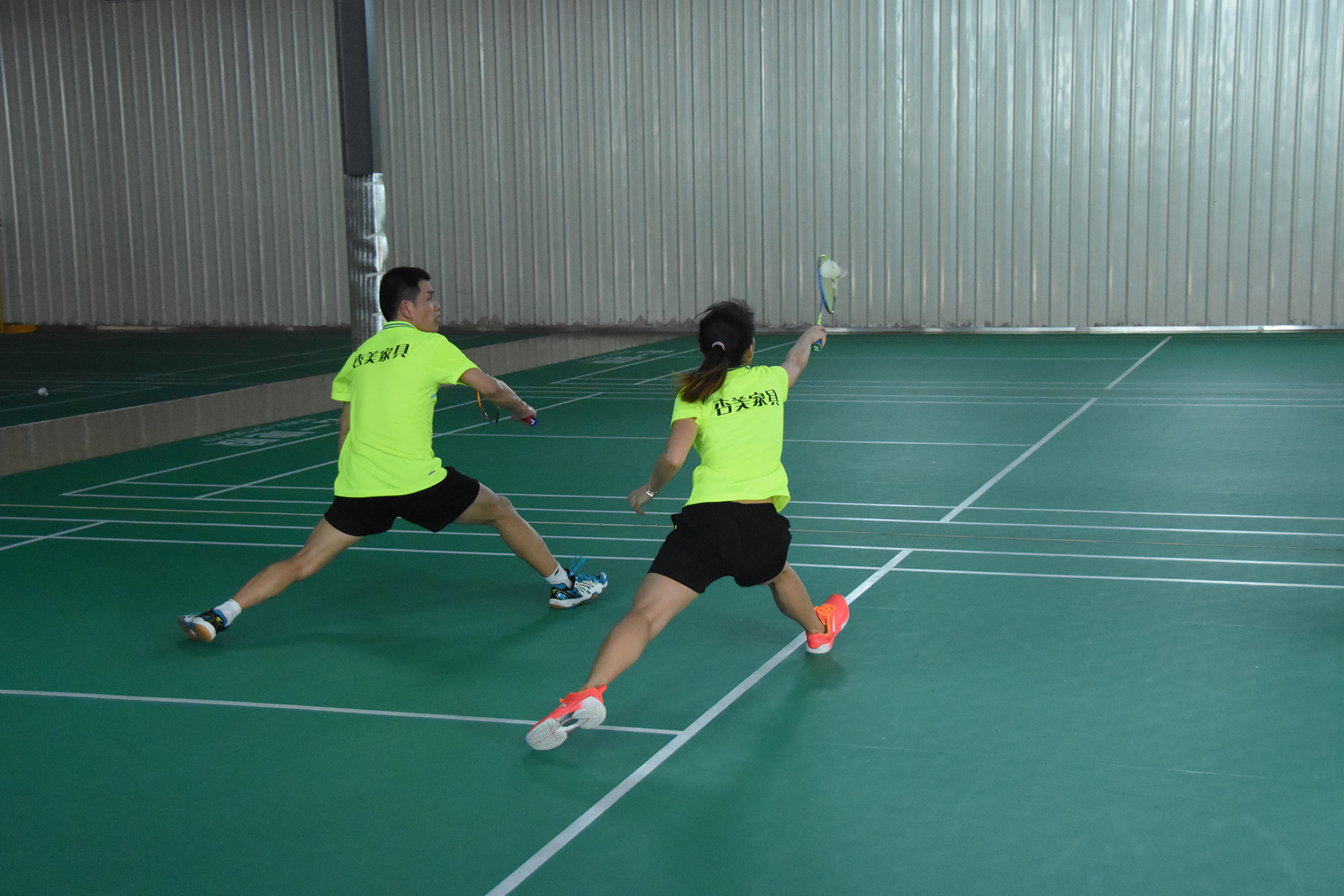 Lunging (with your dominate leg forward) is the most common and important move for badminton. It's also totally killer to practice.