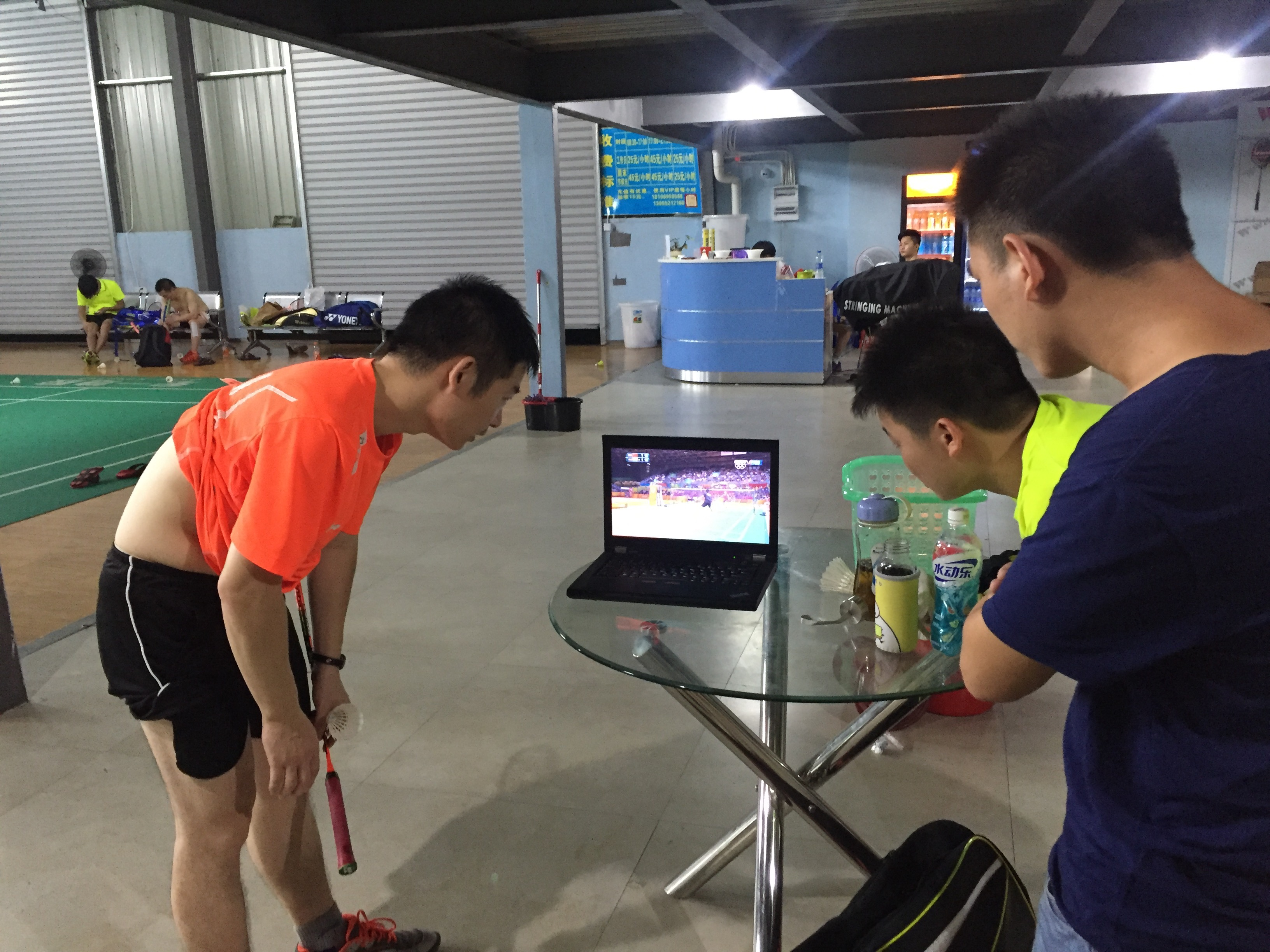 But last night, all game play stopped when Lin Dan (the two time Olympic medalist and most famous player in China) was close to losing the match against an Indian player. They had each won one game and Lin Dan was down a few points. My coach grabbed his computer and we all watched the last few points where Lin Dan pulled off a narrow victory much to everyones joy. As soon as that game finished we all headed back out to the courts to keep playing.