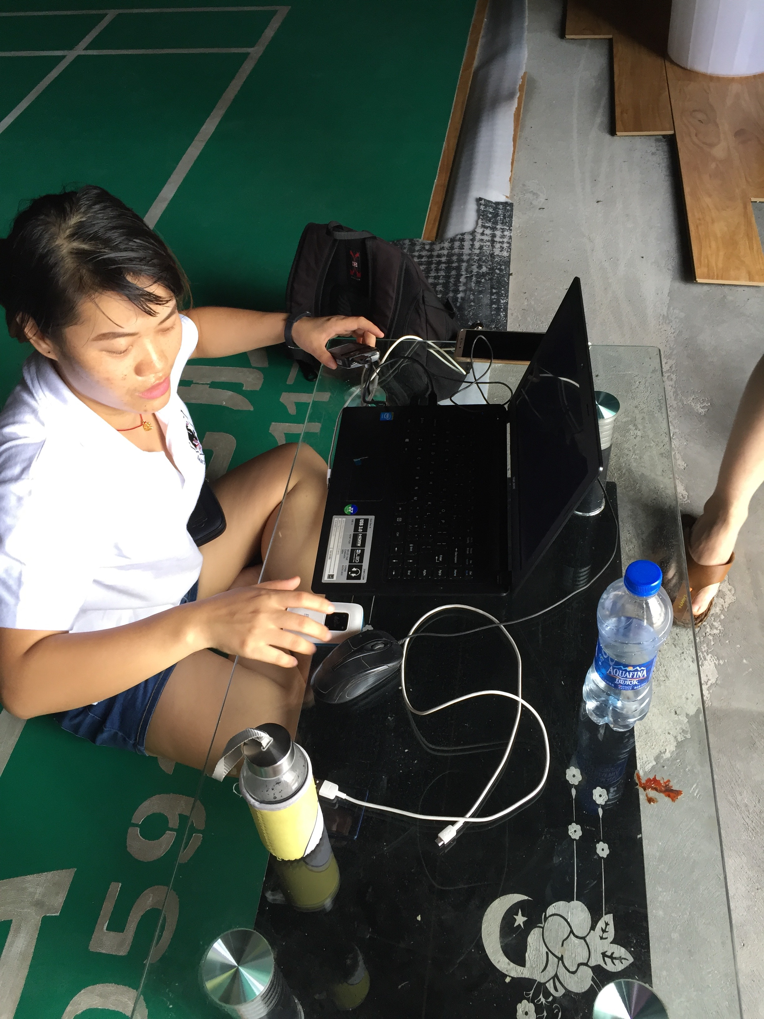 Several people still had no power at home so one dedicated player brought her computer so others could get some juice off it.