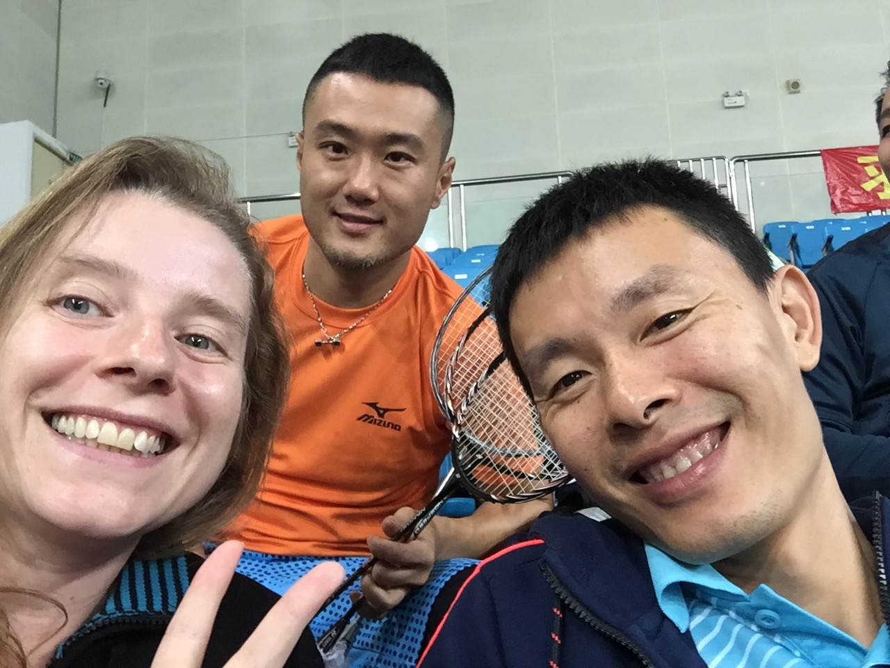 Me, my coach and my friend Yang Ping behind us. Yang Ping is my part-time coach and we train together every Wednesday.